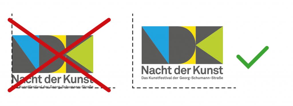 Logo-Positionierung mit ausreichend Raum/nicht direkt am Seitenrand
